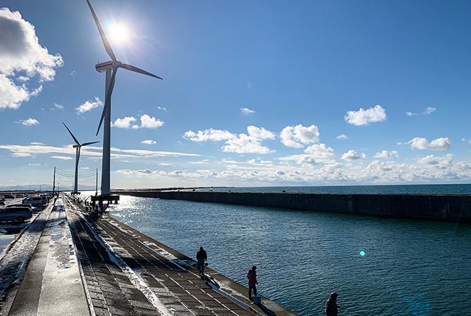 酒田北港水路 風車2~3本目から南の方向 ハタハタ釣りの様子