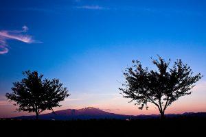 夕日をあびる鳥海山 2012.10.27