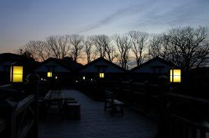 山居橋と山居倉庫の黄昏時